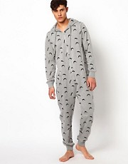 New Look Moustache Print Onesie