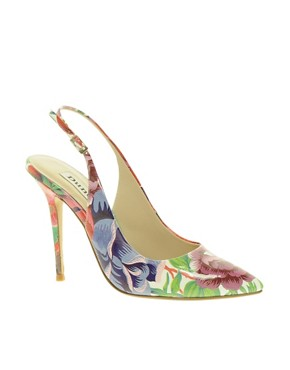Image 1 ofDune Delila Floral Pointed Court Shoes