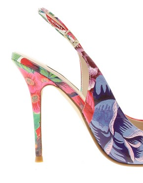 Image 2 ofDune Delila Floral Pointed Court Shoes