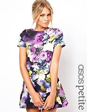 ASOS PETITE Exclusive Floral Mini Dress With Ultra Drop Waist