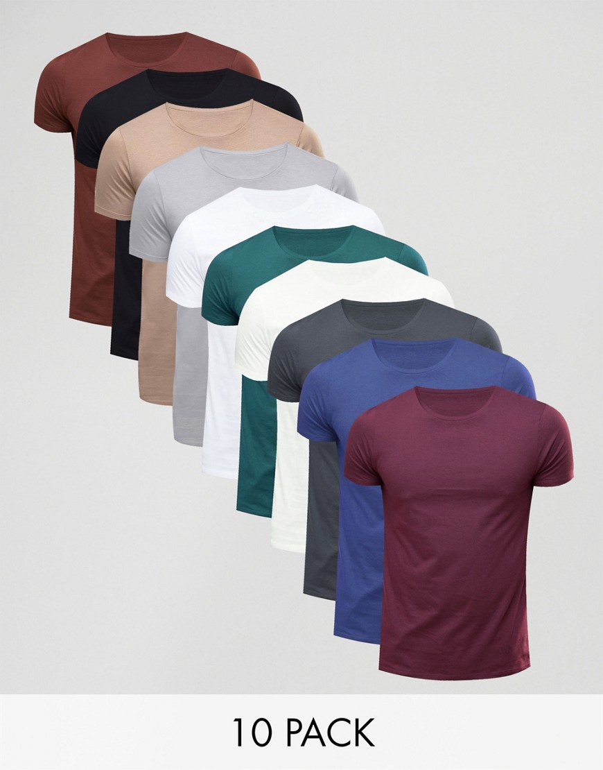 ASOS 10 Pack T-Shirt With Crew Neck SAVE - Multi
