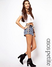 ASOS PETITE High Waist Denim Shorts in Acid Wash with Side Lattice Detail