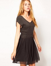 Vila Knit &amp; Chiffon Dress