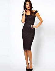ASOS Midi Bodycon with Lace Off Shoulder