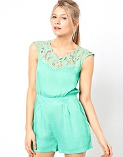 Yumi Playsuit With Cutwork Neckline