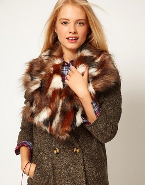 Image 1 ofASOS Faux Fur Patchwork Lapel Collar