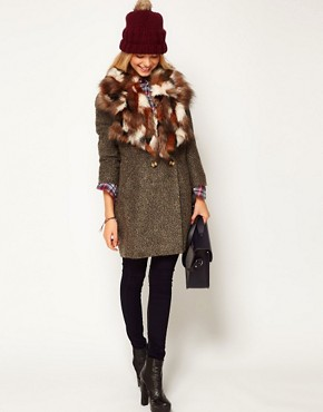 Image 3 ofASOS Faux Fur Patchwork Lapel Collar