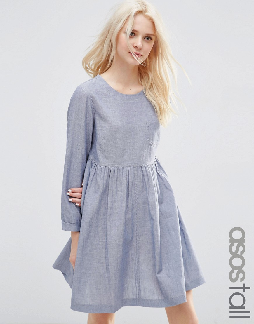 ASOS TALL Long Sleeve Chambray Smock Dress - Blue