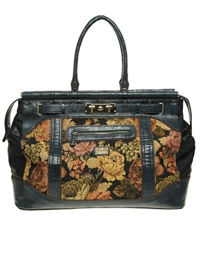 Image 1 ofRiver Island Large Tapestry Weekend Bag