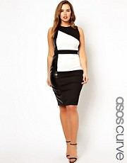 ASOS CURVE Dress In Color Block With Leather Look Panel