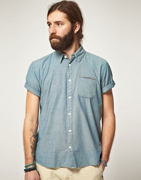 Image 1 ofEdwin Short Sleeve Selvage Chambray Shirt