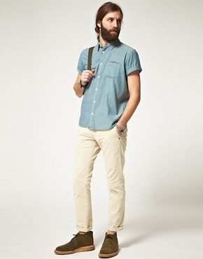 Image 4 ofEdwin Short Sleeve Selvage Chambray Shirt