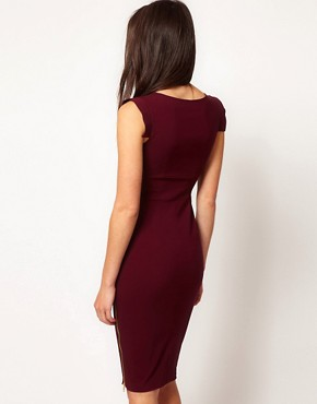 Image 2 of Hybrid Dress with Side Zip Feature in Midi Length