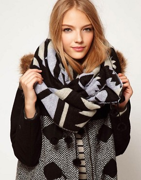 Image 1 ofASOS Aztec Woven Pom Pom Snood