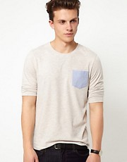 ASOS 3/4 Sleeve T-Shirt With Oxford Pocket