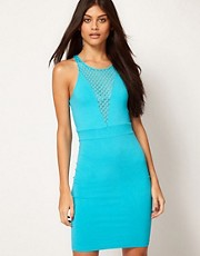 Motel Bodycon Dress With Mesh Panel