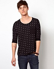 ASOS 3/4 Sleeve T-Shirt With All Over Aztec Print
