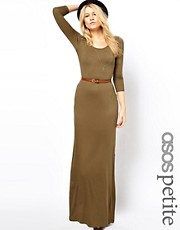 ASOS PETITE Exclusive Long Sleeve Maxi Dress With Belt