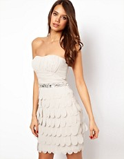 Lipsy VIP Bandeau Dress with Petal Skirt