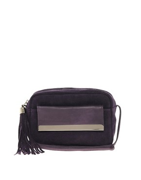 Image 1 ofASOS Leather Metal Bar Across Body Bag