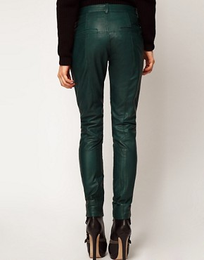 Image 2 ofASOS Skinny Trouser in Leather With Biker Detail