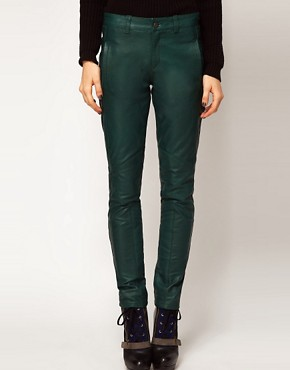 Image 4 ofASOS Skinny Trouser in Leather With Biker Detail