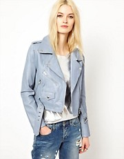 HIDE Freja Leather Biker Jacket in Lilac