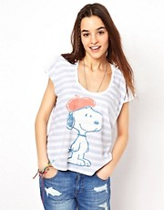Junk Food Snoopy The Striped Jetsetter Boxy T-Shirt