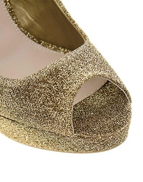 Image 3 ofMiss KG Josephine Platform Peep Toe Court Shoes