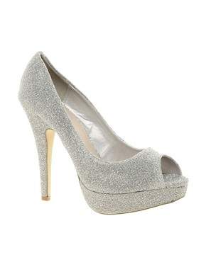 Image 1 ofMiss KG Josephine Platform Peep Toe Court Shoes