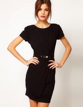 Image 1 ofWarehouse Gauged Belted Wrap Dress