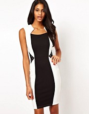 Lipsy Colour Block Bodycon Dress with Stud Details