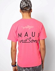 Maui And Sons T-Shirt Straight Shark Back Print