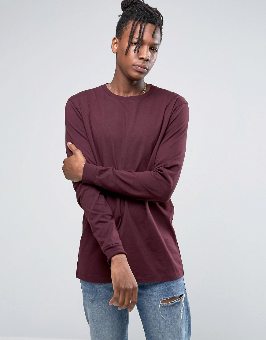 ASOS Longline Long Sleeve T-Shirt - Red