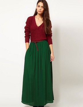 Image 1 ofGanni Madison Maxi Skirt in Dark Green with Burgundy Belt