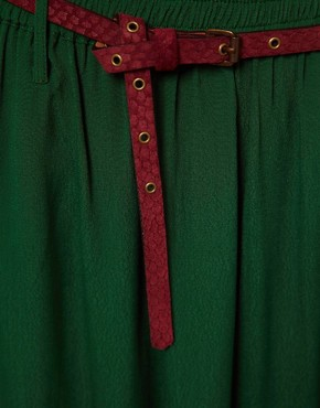 Image 3 ofGanni Madison Maxi Skirt in Dark Green with Burgundy Belt