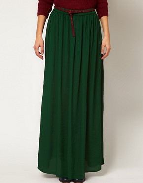 Image 4 ofGanni Madison Maxi Skirt in Dark Green with Burgundy Belt