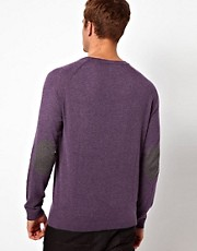 ASOS Raglan Crew Neck Jumper with Elbow Patches