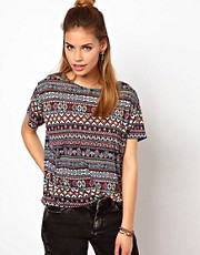Glamorous Oversize T Shirt In Aztec Print
