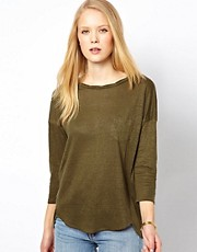 Whistles Lacie Linen Twist Neck Top