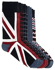 River Island  Socken mit Union Jack-Motiv im 5er-Pack