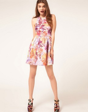 Image 4 ofASOS Lantern Dress in Darling Buds Print