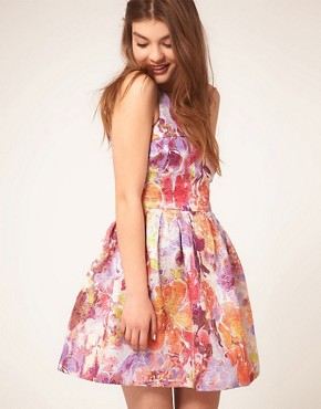 Image 1 ofASOS Lantern Dress in Darling Buds Print