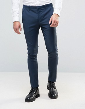 ASOS Super Skinny Suit Trousers in Navy