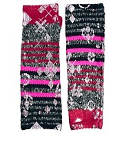 Lauren McCalmont For ASOS Foil Print Cut About Argyle Print Palmwarmers