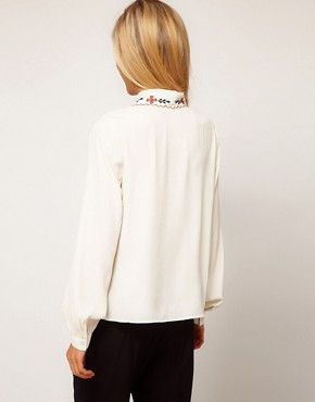 Image 2 ofASOS Blouse With Floral Embroidery