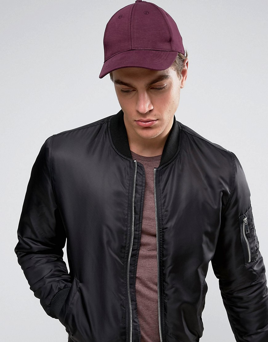 ASOS Baseball Cap In Burgundy Jersey - Red