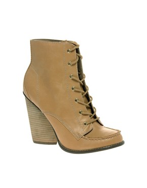 Image 1 ofASOS ARCHIE Round Toe Wood Stack Heel Boot