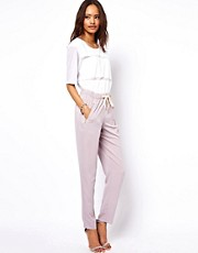 ASOS Peg Trousers with Zip Detail and Tie Waist