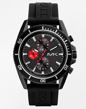 Michael Kors Jet Master Black Silicone Strap Watch MK8377